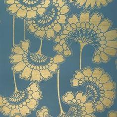 Stormy Seas Japanese Floral Wallpaper