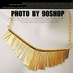 Europe and the United States mashup metal tassels short necklace fan-shaped necklace female sweater chain  ,shop at Costwe.com