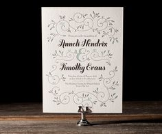 With soft, pretty colors, Hendrix sprouts floral vines and modern whimsical charm in these letterpress wedding invitations from Jessica Hische.
