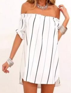 Sexy Slash Collar Half Sleeve Striped Loose-Fitting Women's Dress #Fashion #Sexy #White #Women #Dress