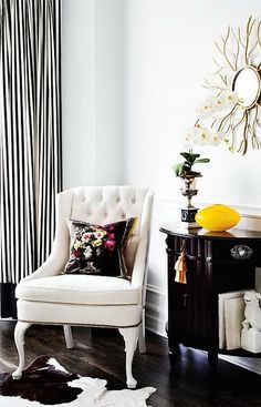 Black and White Striped Curtains, Transitional, living room, Style at Home