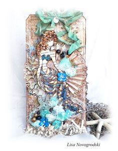 Julie Nutting Mermaid Tag by Lisa Novogrodski for the Frank Garcia Design Team using the French Riviera collection