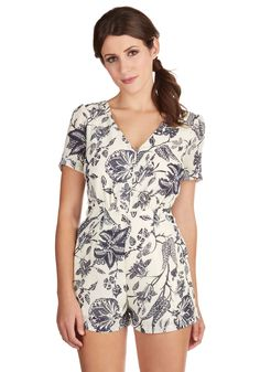 Cultivating Charisma Romper. Like the navy wildflowers blooming on your ivory romper, charisma naturally blossoms within you, and shines through your charming style.  #modcloth