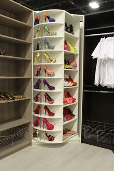 The Revolving Closet A dream closet every woman wants - The Revolving shoe rack - Our luxury closet systems bring beauty and strength together to create a closet system solution that works for you for a lifetime. Our luxury closet s Closet Shoe Storage, Shoe Closet, Closet Organization, Shoe Organizer, Closet Racks, Closet Mirror, Organization Ideas, Walking Closet, Revolving Shoe Rack