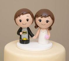 Superhero Kokeshi Cake Topper  Wooden Wedding by CakeToppersStudio, $89.00