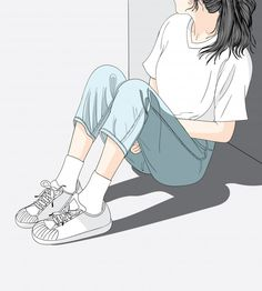 Woman wearing jeans sitting in the sun in the heat.She has a lonely and Sad mood waiting for someone Cute Girl Wallpaper, Cartoon Wallpaper, Cute Girl Drawing, Cute Drawings, Aesthetic Art, Aesthetic Anime, Cover Wattpad, Cartoon Art Styles, Beautiful Anime Girl