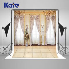 Kate Indoor Wedding Backdrop Transparent Windows Curtains and Chandelier Wedding Photo Large Size Seamless Photo