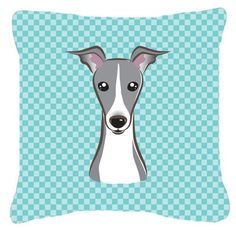 Checkerboard Blue Italian Greyhound Canvas Fabric Decorative Pillow BB1174PW1414