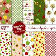 Great for fall and autumn craft projects, Halloween projects, card making, scrapbooking, etc. This package includes: ♥ 10 assorted apple themed digital papers in JPG format ♥ Each paper is 12 Halloween Projects, Craft Projects, Fall Crafts, Diy Crafts, Heart Font, Embroidery Files, Autumn Inspiration, Scrapbook Paper, Card Making