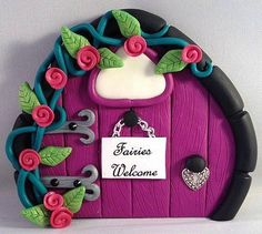 Polymer Clay Fairy Door  Violet and Black by MistsofAzura on Etsy, £15.00
