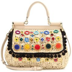 Dolce & Gabbana Miss Sicily Small Embellished Shoulder Bag (8.550 RON) ❤ liked on Polyvore featuring bags, handbags, shoulder bags, colorful handbags, shoulder bag purse, beige handbags, dolce gabbana handbag and dolce gabbana shoulder bag
