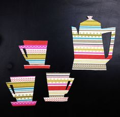 Retro Coffee Pot Coffee Cups & Saucers  by HawthornBramble on Etsy, $8.00