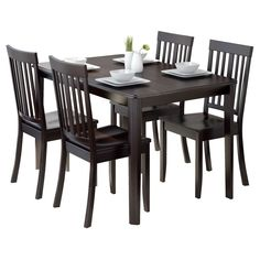 Atwood 5 Piece Dining Set - Cappuccino - CorLiving, Dark Cappuccino
