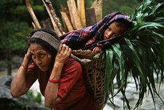 mom's back pack in Nepal by Steve McCurry