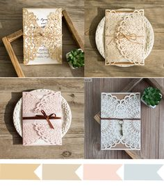 vintage lace wedding invitations with free RSVP cards