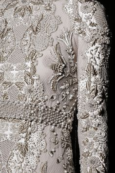 Pearl embellished dress detail, couture embroidery, sewing inspiration, close up fashion // Valentino Fall 2013