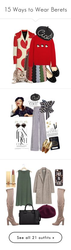 """""""15 Ways to Wear Berets"""" by polyvore-editorial ❤ liked on Polyvore featuring waystowear, berets, WithChic, MSGM, VIVETTA, Shrimps, Eugenia Kim, catstyle, Johanna Ortiz and Holly Ryan"""