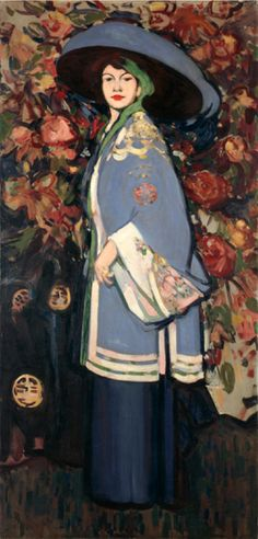"""By John Duncan Fergusson (1874-1961), 1909, """"Le Manteau Chinois"""". The painting shows the American artist Anne Estelle Rice (1877-1959), wearing a kimono-style jacket over a long skirt. This style was made fashionable by the Paris-based designer Paul Poiret.  (Scottish)"""