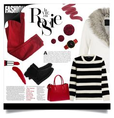 """""""Fashion"""" by aida-banjic ❤ liked on Polyvore featuring The Kooples, Comptoir Des Cotonniers, Prada, Whiteley, UGG Australia, Topshop, TheBalm and Larsson & Jennings"""
