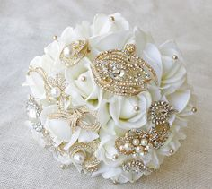 Gold Wedding Brooch Bouquet with Jewels Crystal and by Wedideas