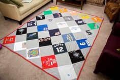Like this version of the t-shirt quilt too, with the solid blocks between shirts.  Guess it depends on how many shirts I have.