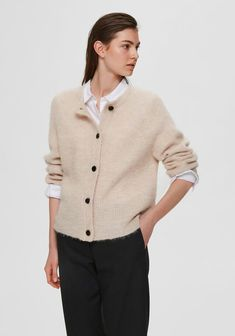 Cropped Cardigan, Knit Cardigan, T Shirts, The Selection, What To Wear, Jumpsuit, Blouses, Beige, Suits
