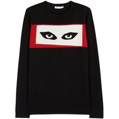 Womens Jumpers Bella Freud Jordans Eyes Black Wool Jumper (28.880 RUB) ❤ liked on Polyvore featuring tops, sweaters, jumper top, black top, intarsia sweater, black wool sweater and wool jumper