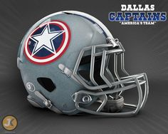 What would a Dallas Cowboys Marvel-themed NFL helmet look like? Cowboys Helmet, Football Helmets, Fantasy Football Logos, Hero Logo, Helmet Logo, How Bout Them Cowboys, Nfl Gear, Sports Helmet, Football Boys