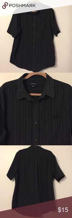 Men's large shirt sleeve button down Vertical stripes with one chest pocket. Size large. 100% polyester. Very soft material. No rips stains or tears. Very good condition! croft & barrow Shirts Dress Shirts