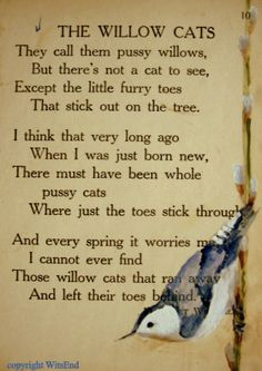 """THE WILLOW CATS""...I have looked and looked for this..I remembered it vaguely, but couldn't find the words..Thanks for pinning this  :"")"