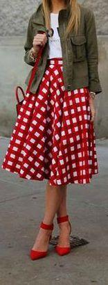 Red Midi Skirt + Military Jacket