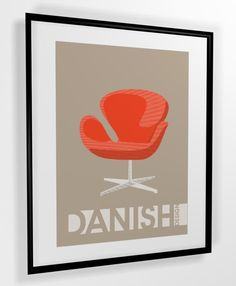 Mid century print - Arne Jacobsen chair danish design poster A4 or A3 PRINTABLE
