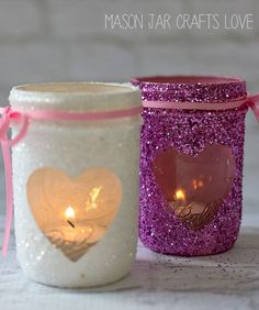 Valentine's Day heart votive craft
