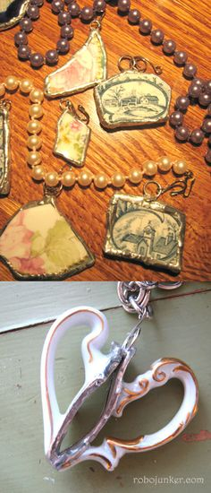DIY JEWELRY   PENDANTS :: DIY Broken China Pendants :: You can buy the tutorial but it basically just looks like they melted solder around the china's edges & stuck a jumper ring in the top to make a hole to string a necklace through. Very unique! You could make a charm bracelet probably, even.   #repurpose #robojunker #upcycle