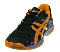 "ASICS Women's Gel-Rocket 6 Volleyball Shoe Black/Mango/Purple 10 B(M) US. This shoes / sandals / boots style name or model number is Gel-Rocket 6. Color: Black/Mango/Purple. Women's Size 10. Rubber sole. Measurements: 1"" heel. Built for grip and cushion, this on-court shoe complements the game. Width: M. Fabric. Material: Basic Textile Upper and Rubber Outsole. Item Dimensions: width: 600, height: 500."