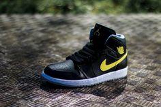 #AirJordan 1 Mid 'Black/Vibrant Yellow-Wolf Grey' #sneakers
