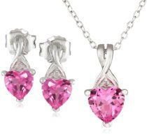 jewelry pink sapphire with diamond heart earring
