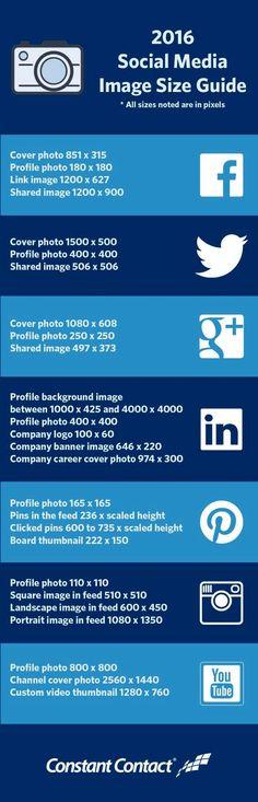 Tamaños idóneos de las imágenes para Redes Sociales. Comprueba las dimensiones de las imágenes para Facebook, Twitter, Google+, LinkedIn, etc.