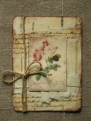 Shabby & Stained Card...with old script paper & twine.