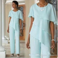 Wedding Suits 2018 New Mother of the Bride Dresses Pants Suits Wedding Guest Dress Chiffon Short Sleeve Tiered Mother of Groom Pant Suits Custom Made - Wedding Guest Outfit Formal, Wedding Guest Pants, Dress Formal, Trendy Wedding, Luxury Wedding, Summer Wedding, Formal Pants, Wedding Blue, Formal Wear