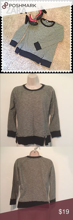 """ZARA striped crop sleeve top Size small. Measures approx 24"""" long, 18"""" sleeves, 20"""" flat across chest. Soft & stretchy modal cotton/poly blend. Worn once, excellent condition. Bundle to save! NO TRADES, no modeling. REASONABLE offers welcome via offer button. Zara Tops"""