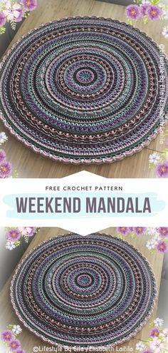 How to Crochet Weekend Mandala - - Mind-Blowing Mandalas will make your head spin! They are amazingly intricate and so pretty. Their authors are real artists,. Crochet Coaster Pattern, Crochet Rug Patterns, Crochet Mandala Pattern, Crochet Doilies, Crochet Stitches, Knitting Patterns, Dishcloth Crochet, Crochet Rugs, Doodle Patterns
