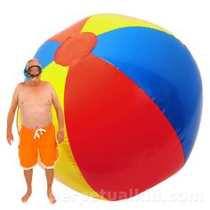 GIANT INFLATABLE BEACH BALL    $140.99 So what would you do with a beach ball the measures 10 feet in diameter when inflated?   How about have the greatest beach or pool party ever!  One that people would be talking about for years… one that would make you go down in history as the greatest party host EVER?!    Easily blow it up with an air compressor or pump (not included).  Heavy/durable construction.