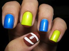 Football Nail Art - second version - I like the idea of adding the small dots of polish for texture and the two end stripes.