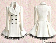 White peacoat style with frilly flare!!