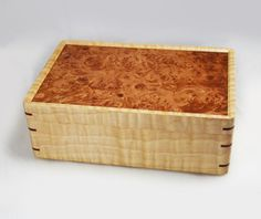 Tiger Maple Keepsake Box - Maple Burl & Tiger Maple Lift Top Box by… Wooden Keepsake Box, Keepsake Boxes, Wooden Jewelry Boxes, Jewellery Boxes, Woodworking Box, Woodworking Projects, Wooden Box Designs, Carpentry And Joinery, Cool Wood Projects