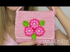 DIY Learn How To Crochet Flower Purse Bag Clutch Handbag Wallet (and Line a Purse) - YouTube
