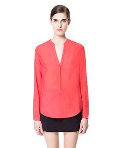 BUTTON - NECK SHIRT - Shirts - Woman - New collection | ZARA United Kingdom