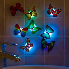 Butterfly Led Night Light: Colorful Wall Stickers