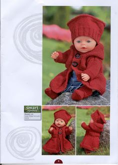 Album Archive - Dukketøj til Baby Born 2 - Ingelise Knitted Doll Patterns, Knitted Dolls, Baby Knitting Patterns, Crochet Patterns, Knitting Dolls Clothes, Doll Clothes Patterns, Clothing Patterns, Knit Crochet, Crochet Hats